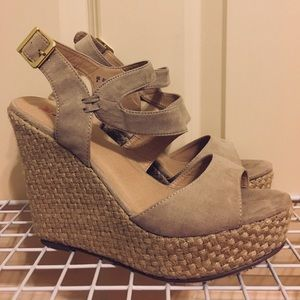 nude JustFab wedges, maybe worn once